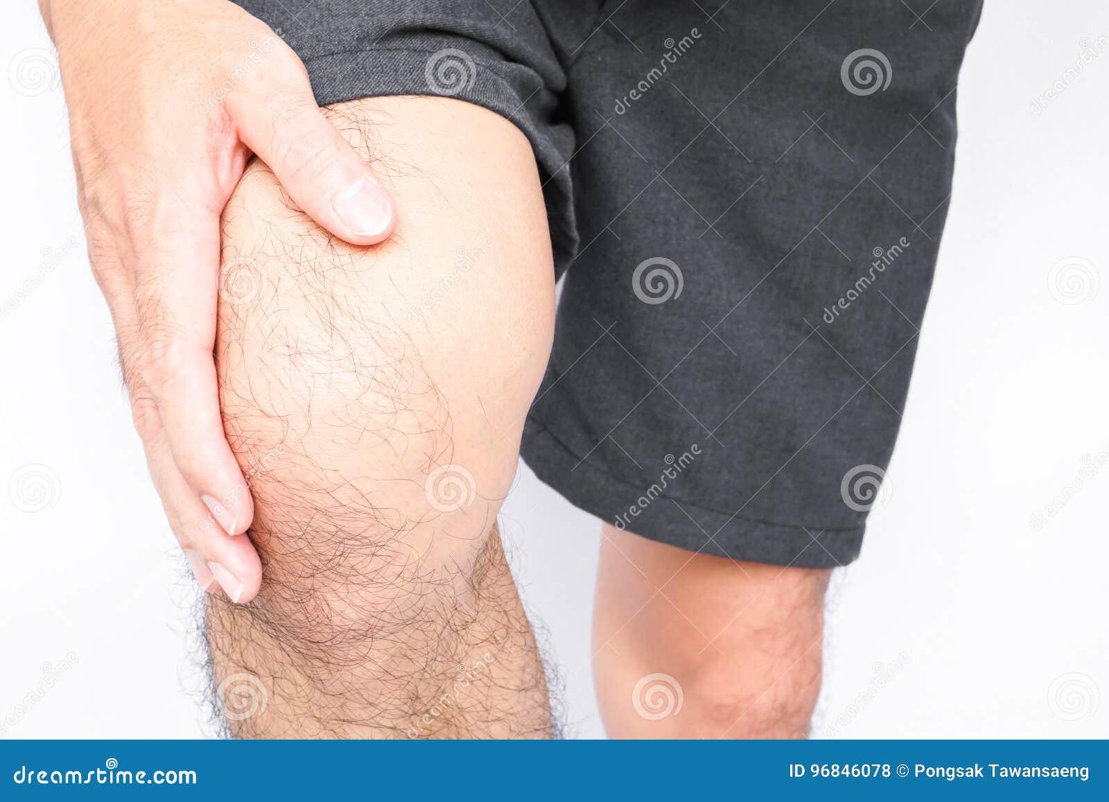 Closeup Man Hand Hold Knee With Pain Symptom Health Care And Me