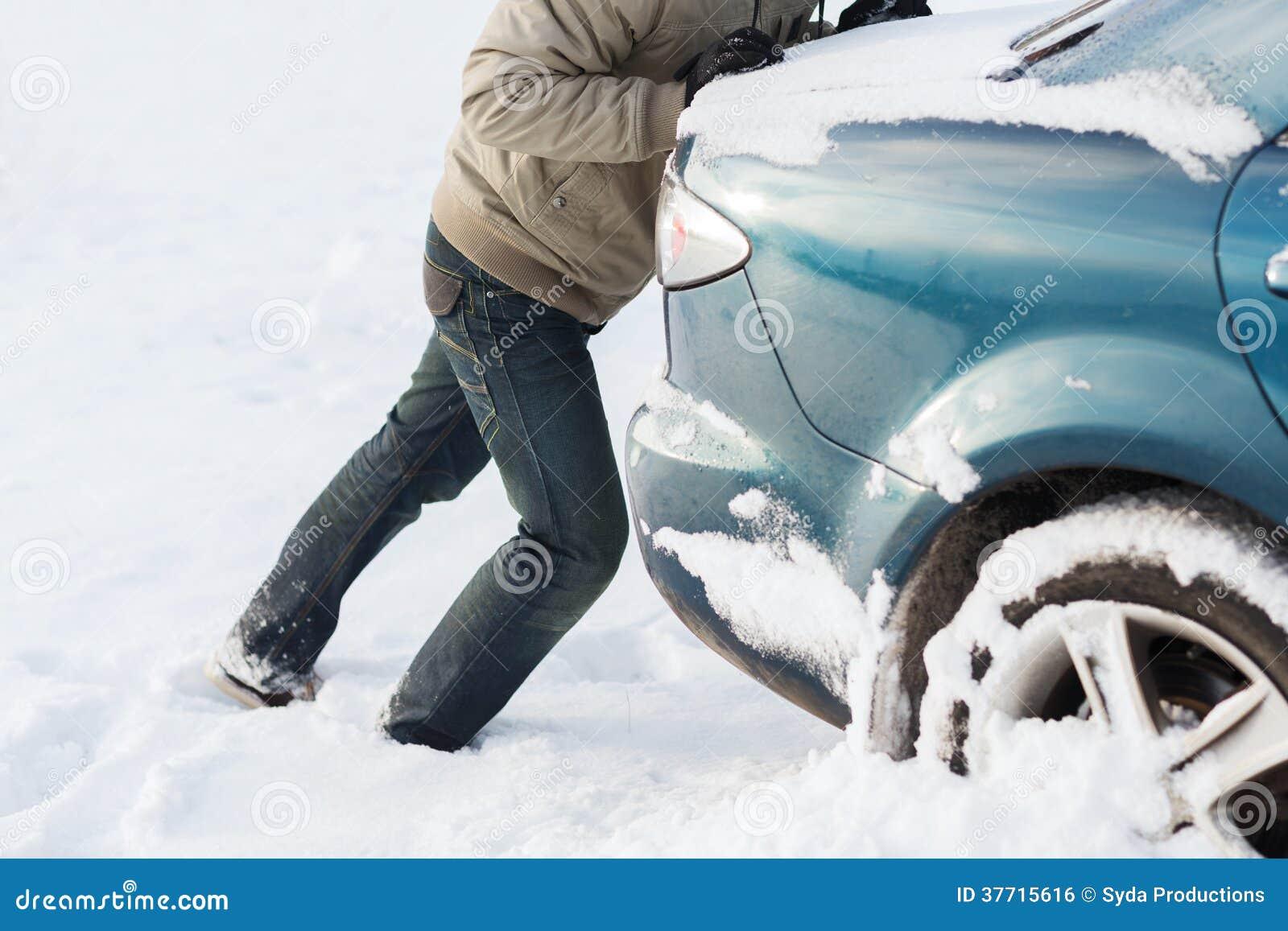 Closeup of Man Pushing Car