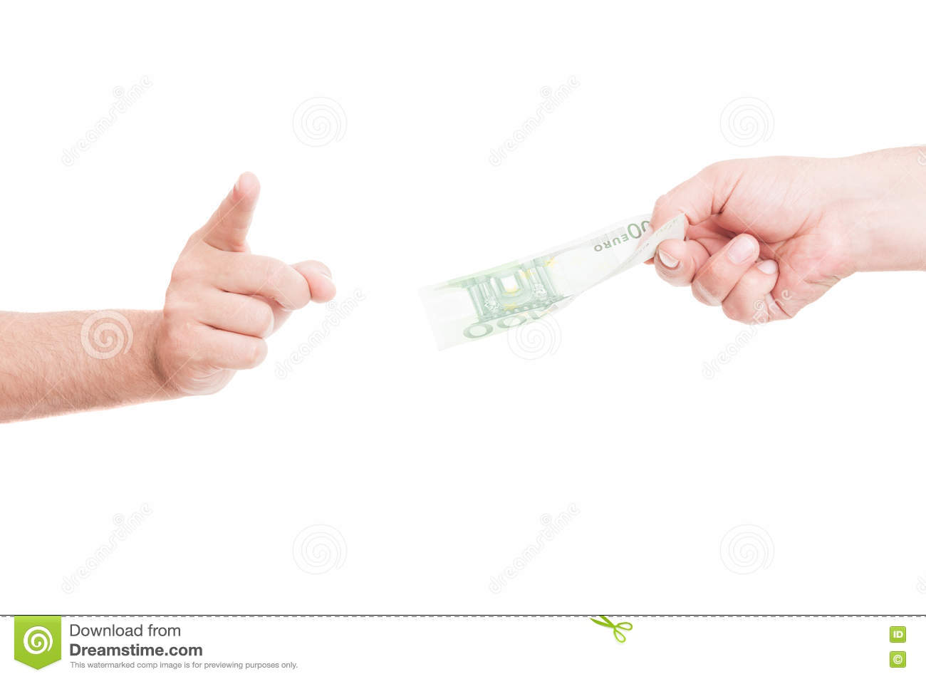 Closeup of man refusing money from another person