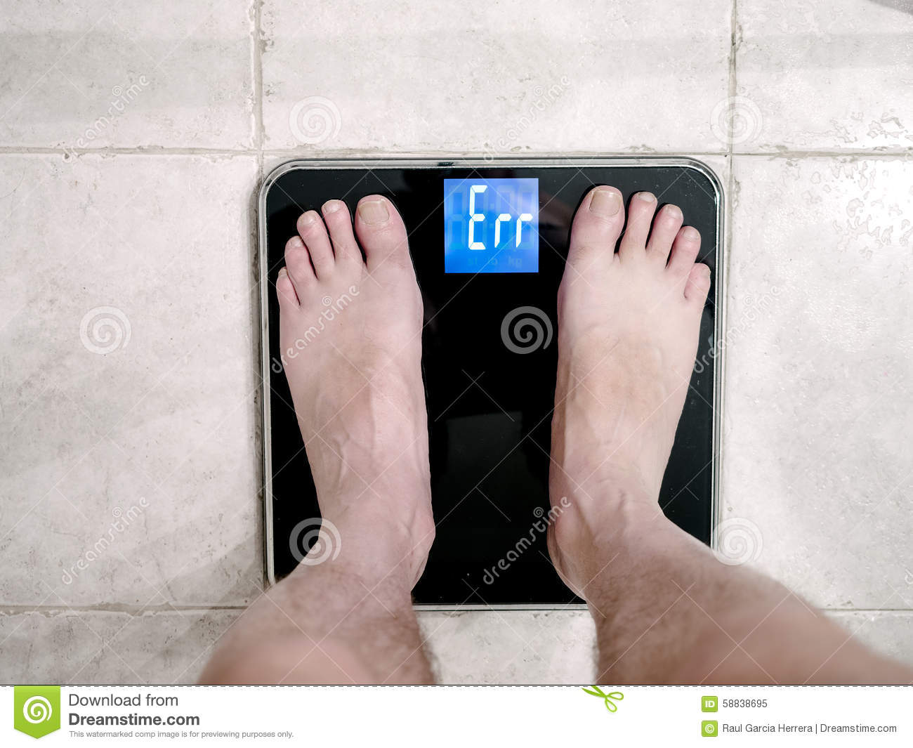Closeup Of Mans Feet On Weight Scale Indicating Error