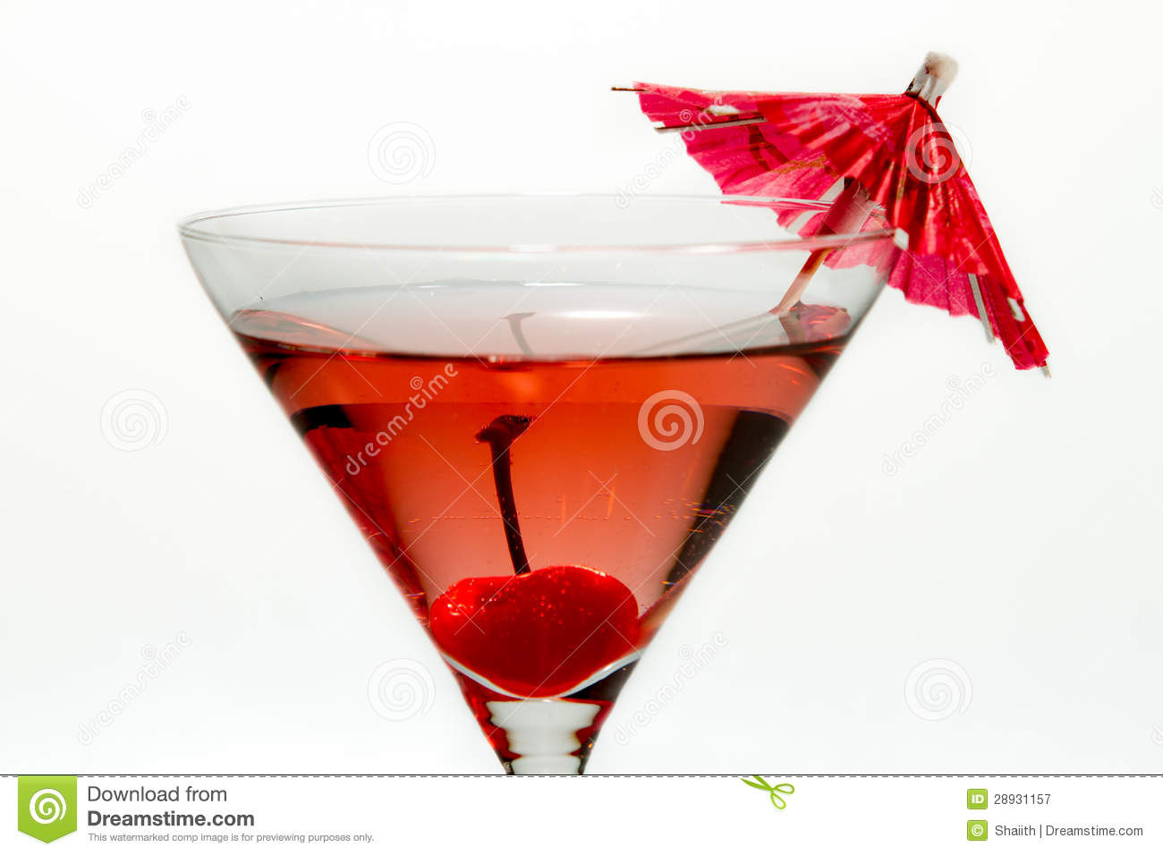 Closeup Of Martini Red Cocktail With An Umbrella Royalty