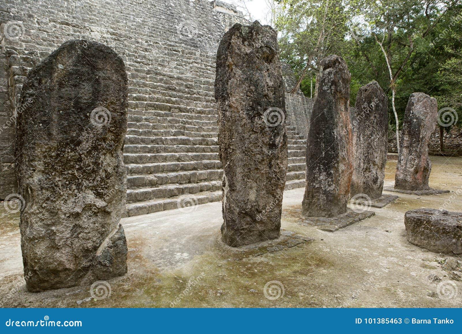 Maya stelae at the Calakmul in Mexico
