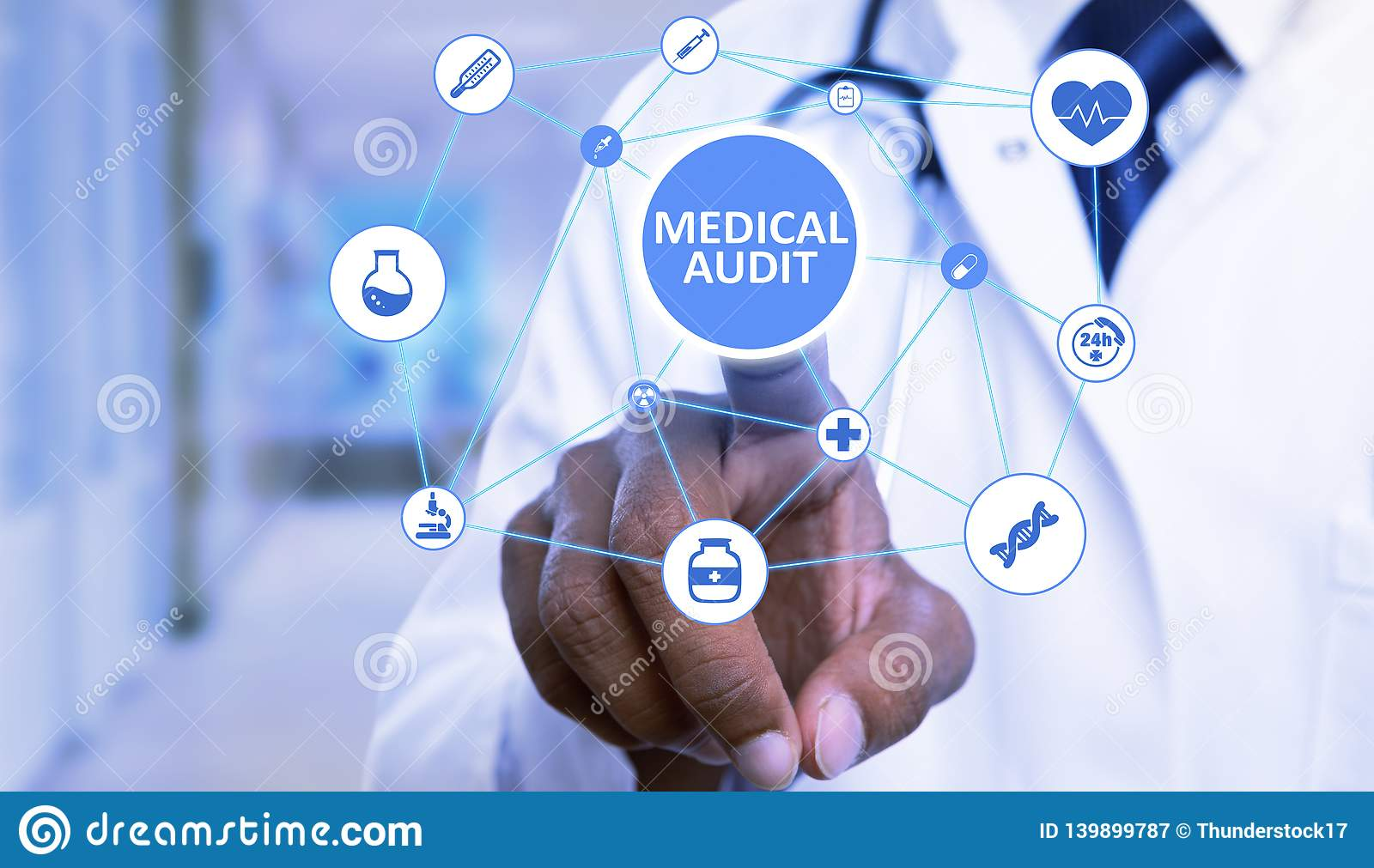 Closeup of medical audit button pressed by doctor