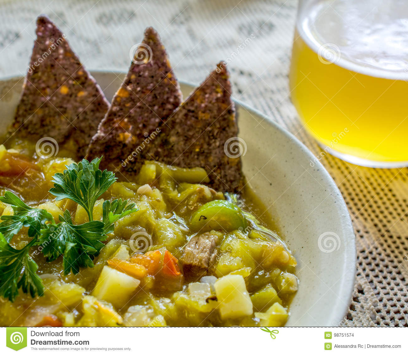 Mexican Chilli Pepper Stew With Beer Stock Photo Image Of Placemat Bean 98751574