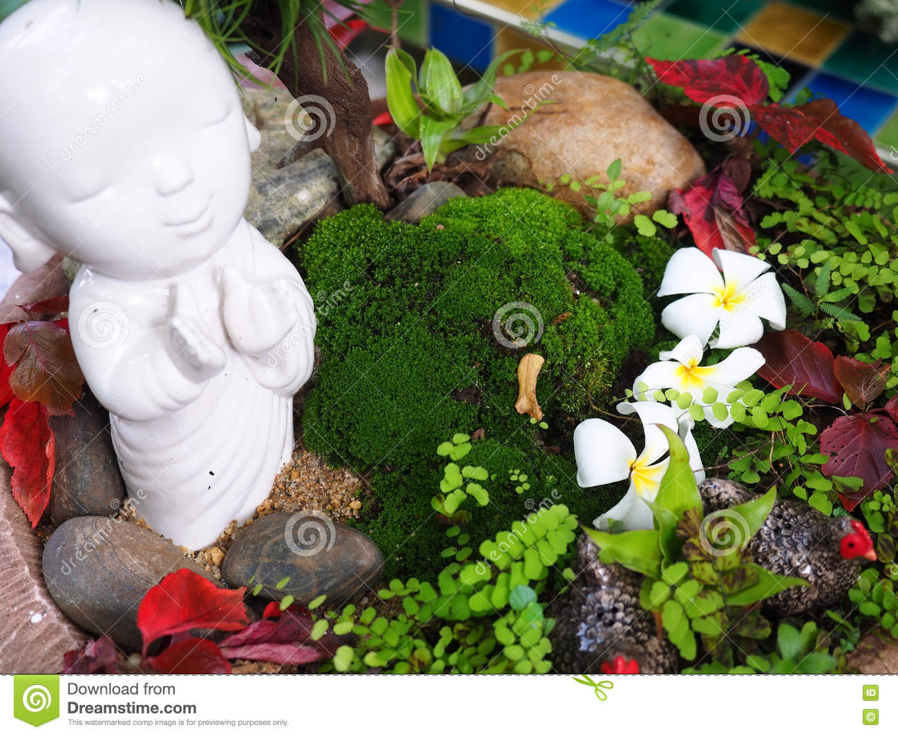 Closeup Of Mini Garden With Small Trees And Flowers Stock Photo