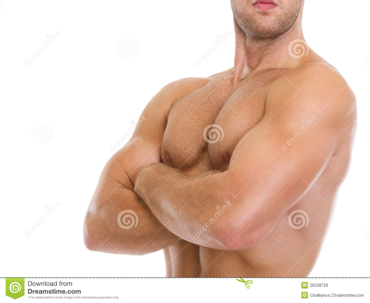 Closeup On Muscular Man Showing Chest Muscles Stock Photo Image Of