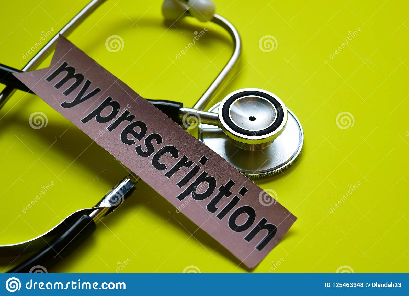 Closeup my prescription with stethoscope concept inspiration on yellow background