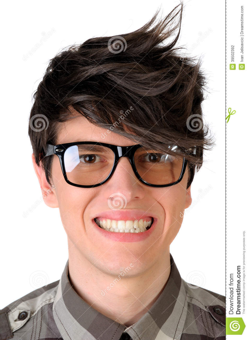 Closeup of a nerdy office worker faking a smile, isolated on white