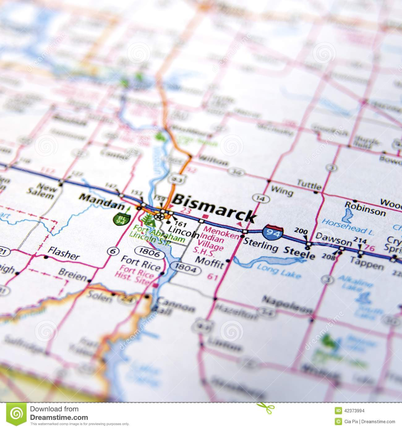 Closeup Of North Dakota Road Map Stock Photo - Image of closeup ...