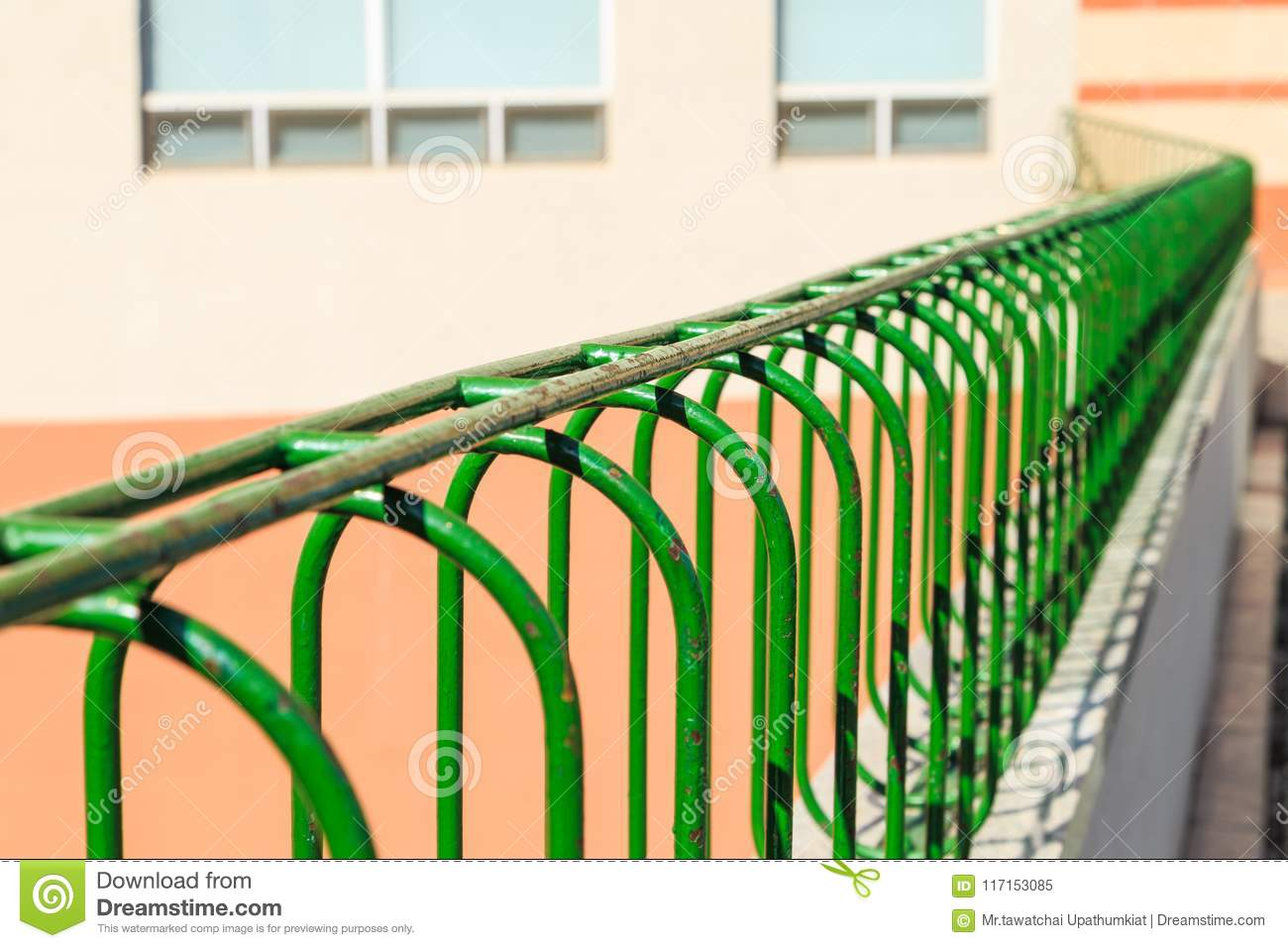Closeup Old Green Steel Bar Fence With Rust Stock Image