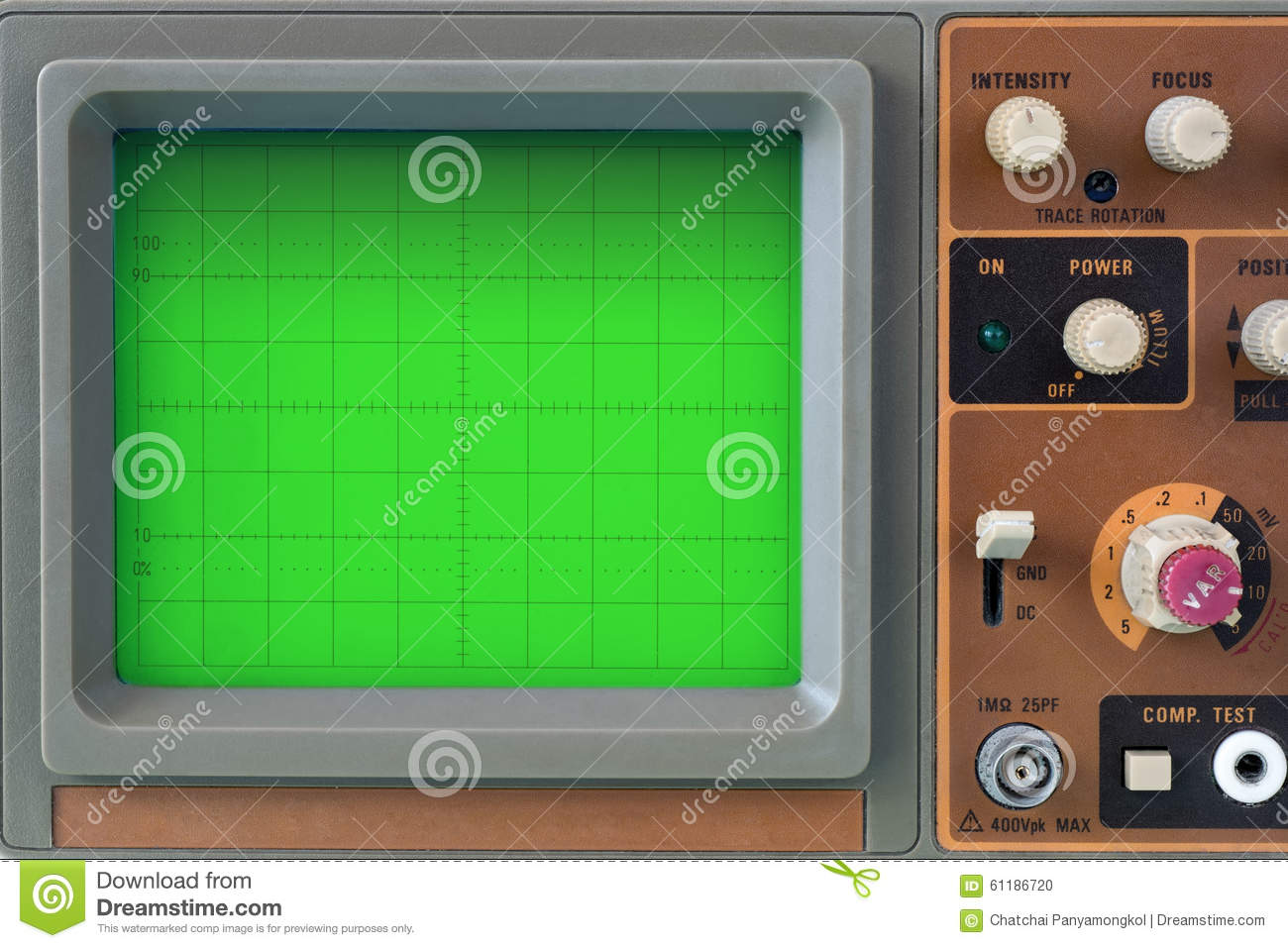 Old Oscilloscope Screen : Old electronic oscilloscope faceplate technology royalty