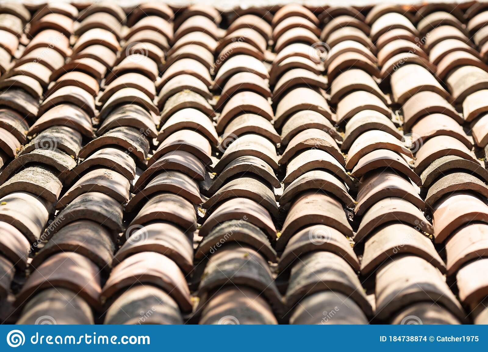 Closeup Of Old Red Clay Roof Tiles Stock Photo Image Of Rooftop Material 184738874