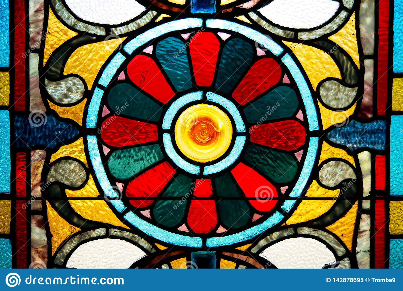 A closeup of a stained glass window.