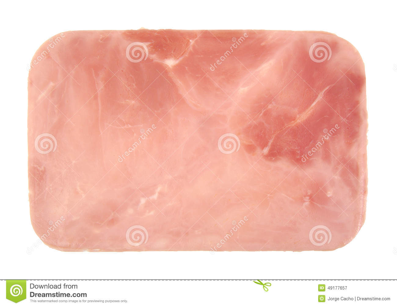 Closeup Of One Cooked And Boiled Ham Sausage Slice Stock Photo - Image ...