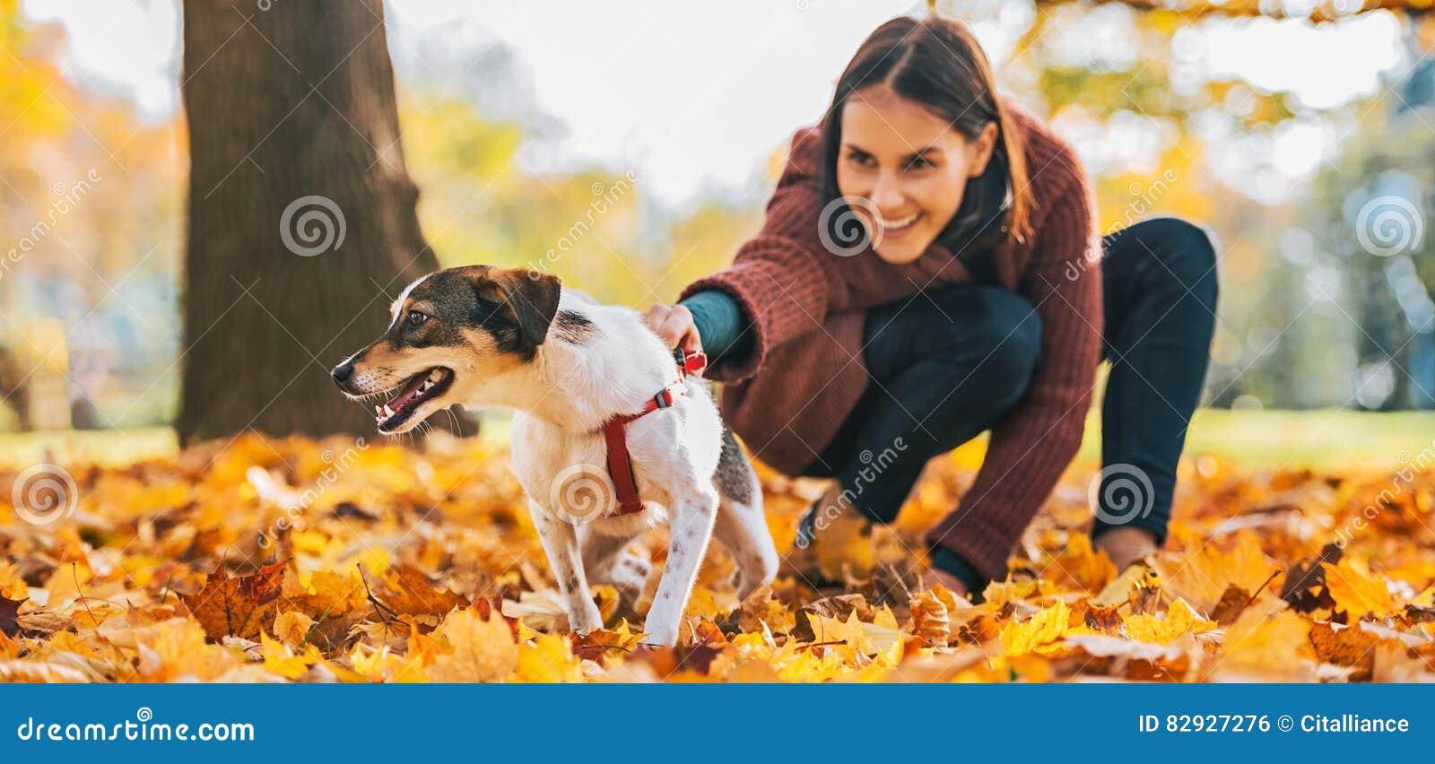 Closeup på gladlynt hund och unga kvinnan som utomhus rymmer den