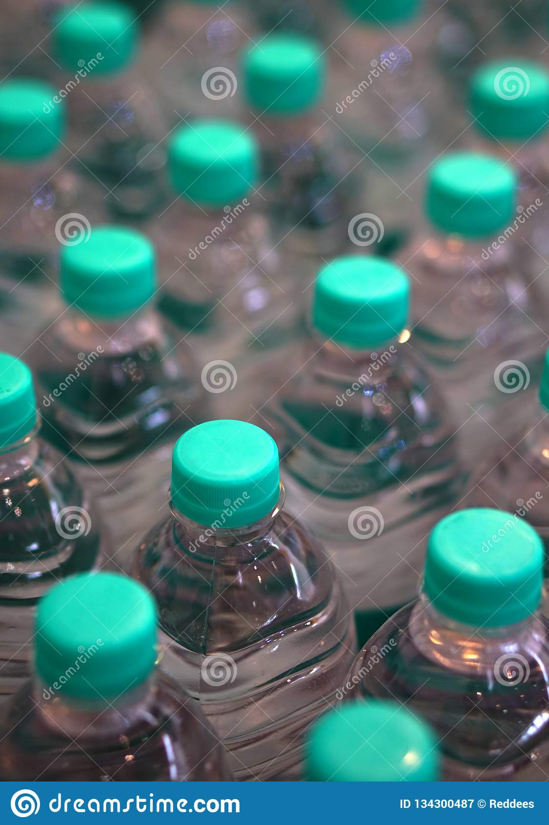 Closeup of packaged drinking water