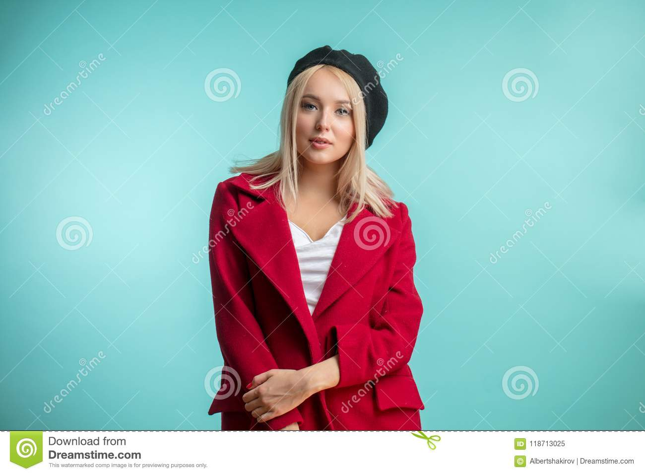 8970d70e9a560 Closeup Photo Of Beautiful Model In Black Beret And Red Overcoat ...