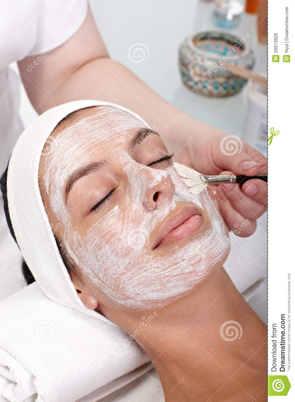 Closeup photo of facial beauty treatment royalty free for A trial beauty treatment salon