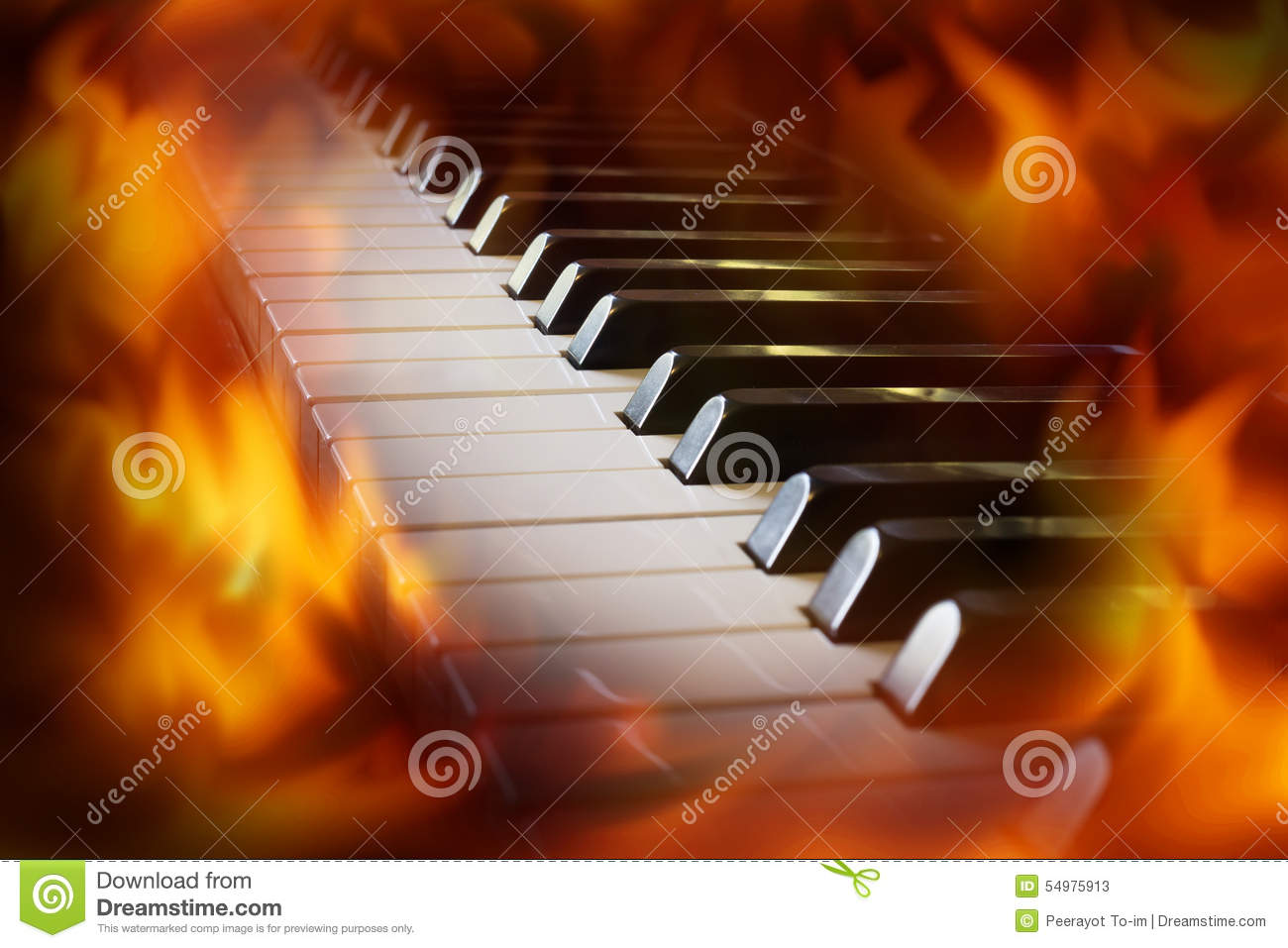 Closeup Piano Keyboard With Fire Flame Screen  Stock Image - Image