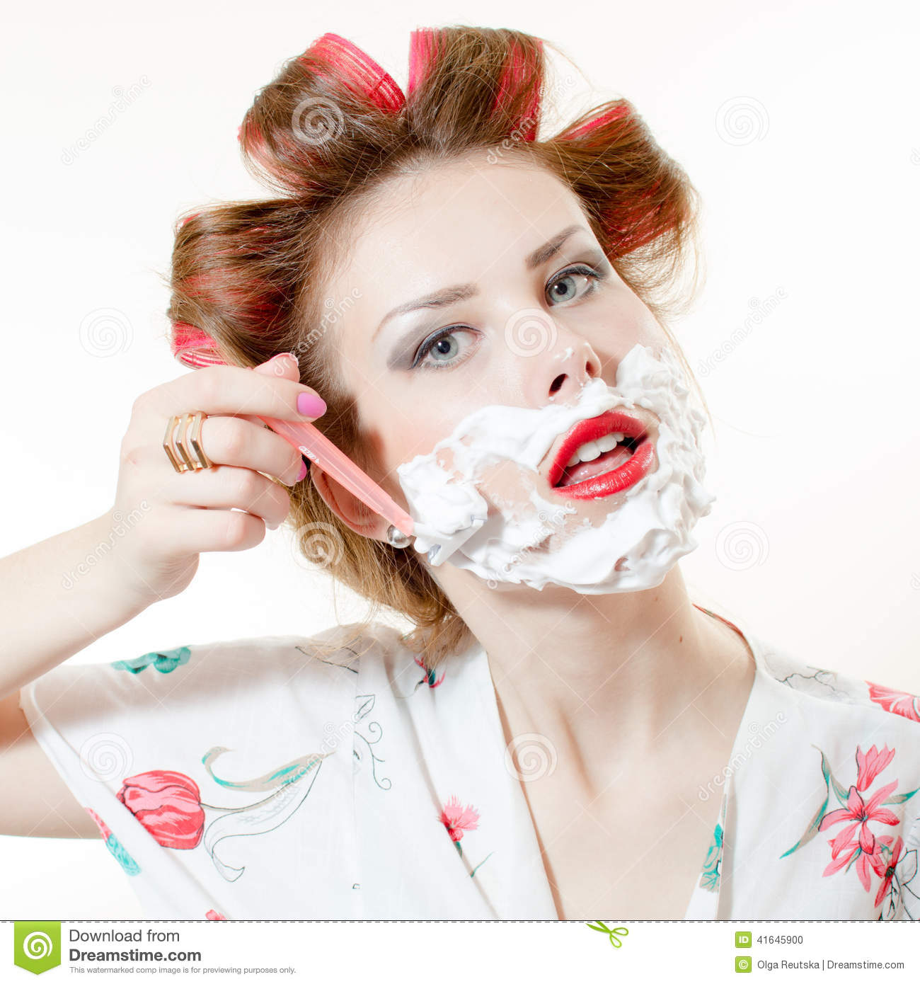 Pin Up Girl Face Portraits: Closeup Picture Of Beautiful Young Pinup Girl Shaving Face