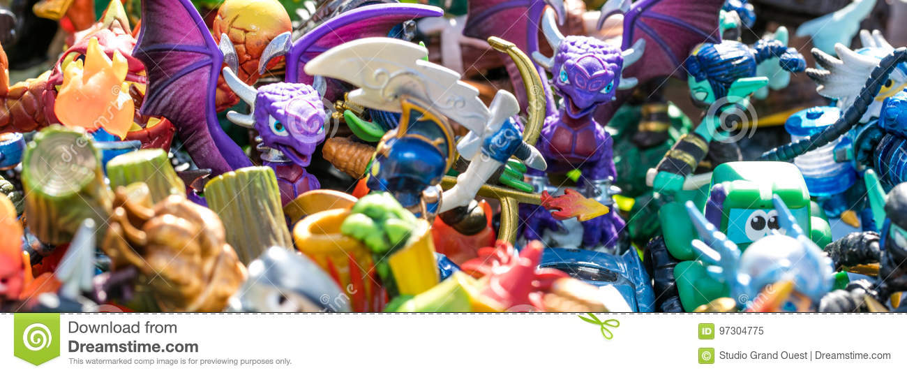 Closeup of pile of plastic characters for waste or consumption