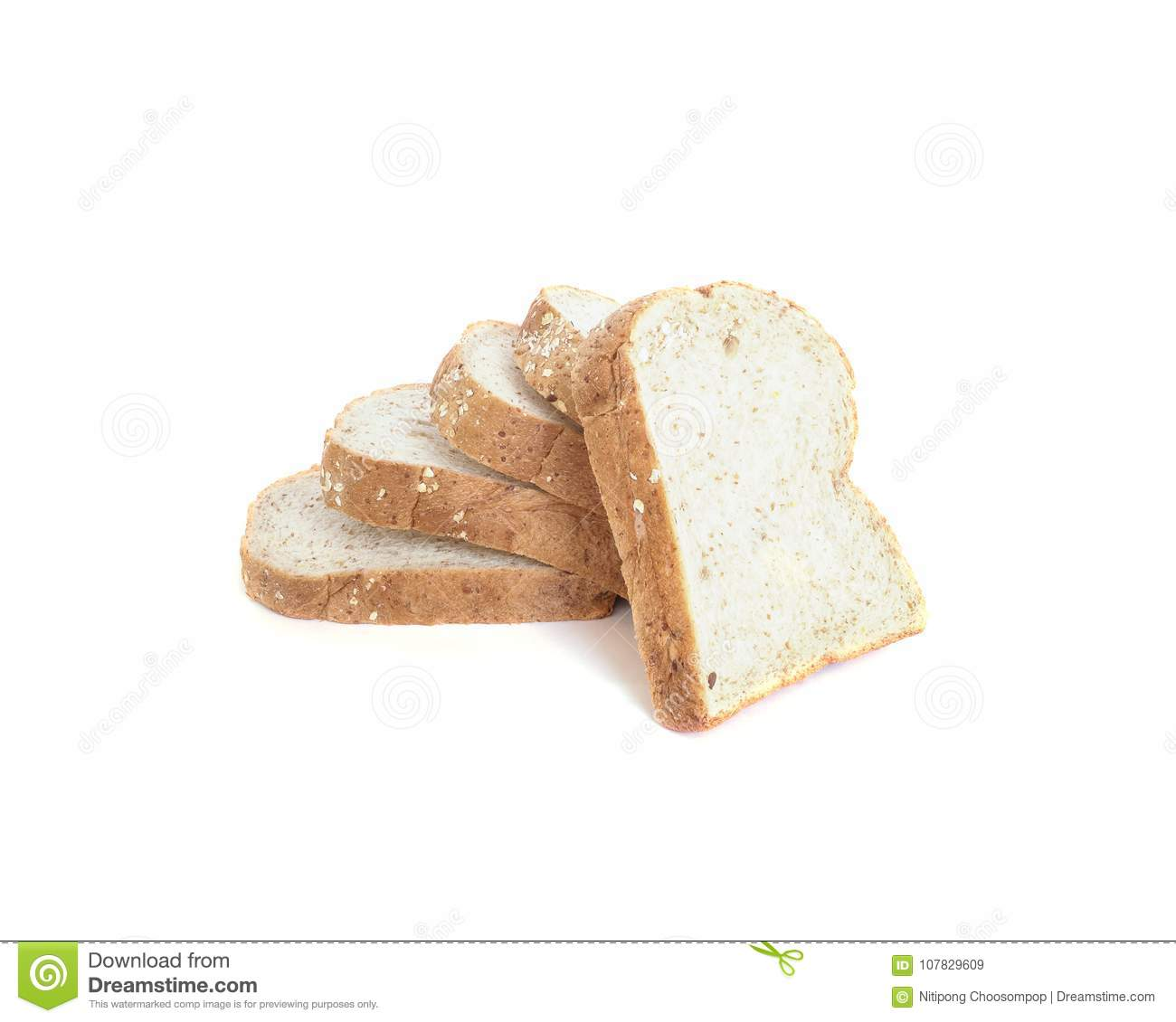Closeup Pile Of Wheat Bread For Breakfast With Shadow