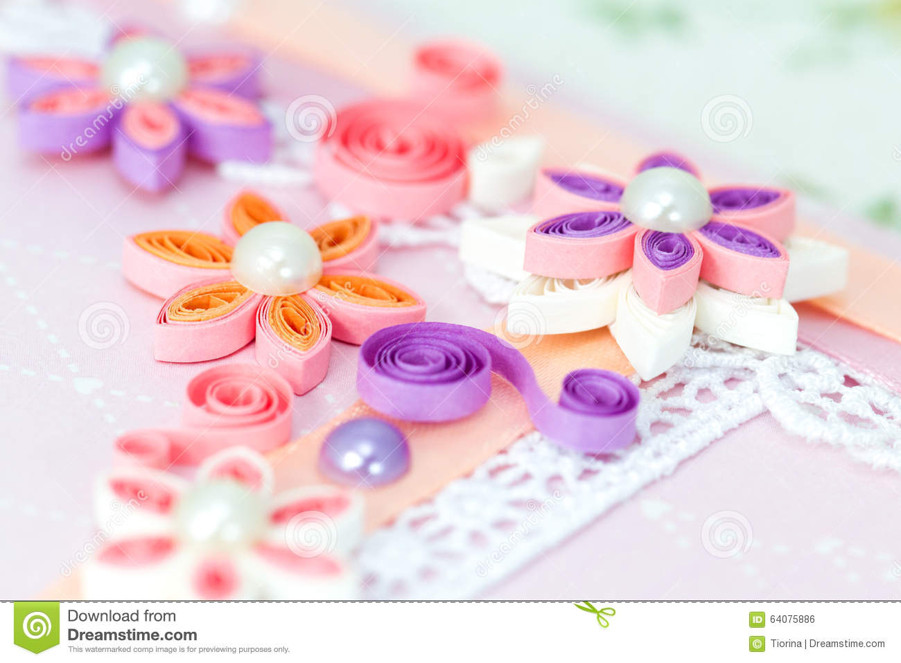 Closeup Of Pink Quilling Paper Flowers Stock Photo Image Of