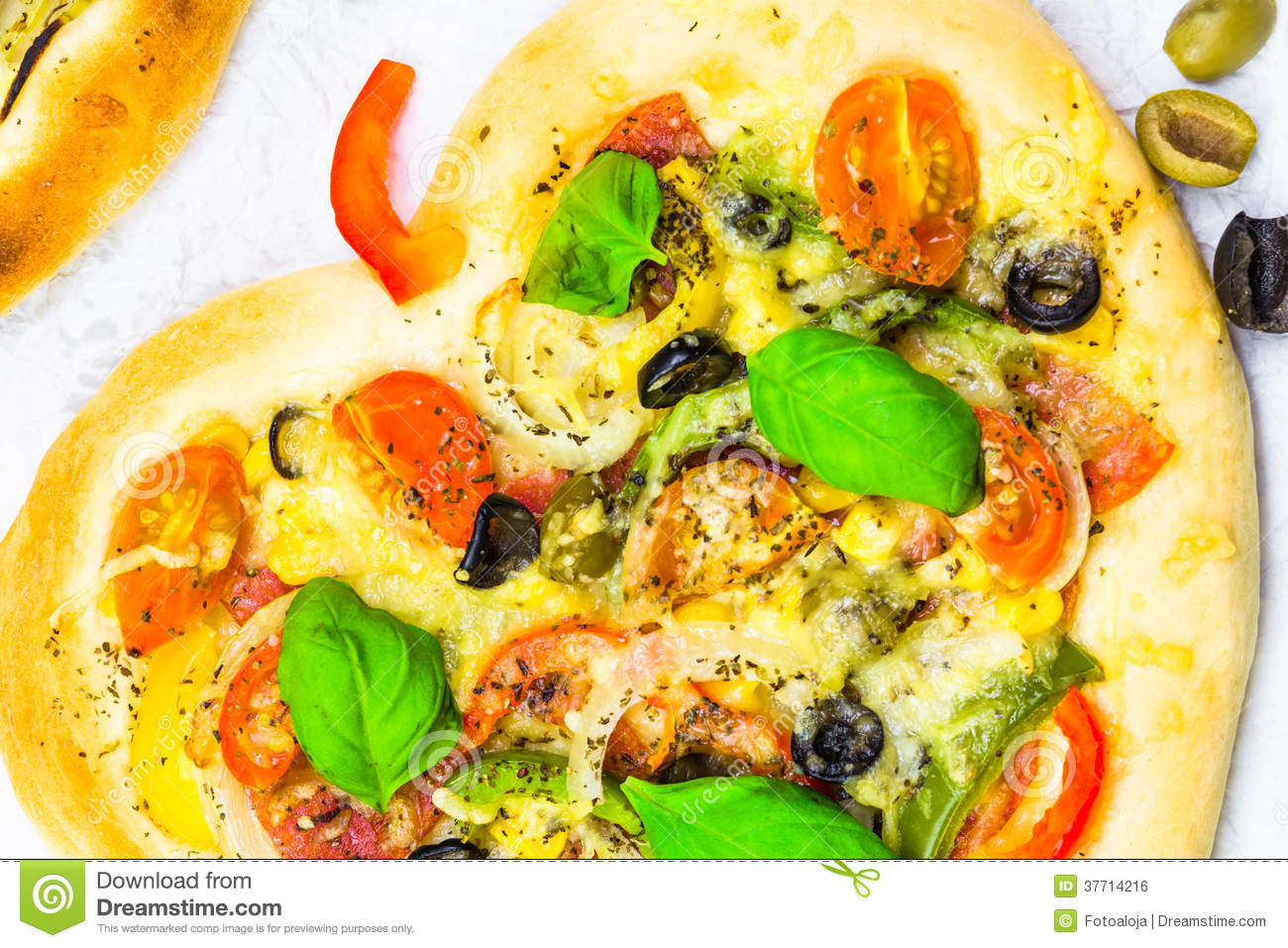 Closeup pizza cheese meat vegetables