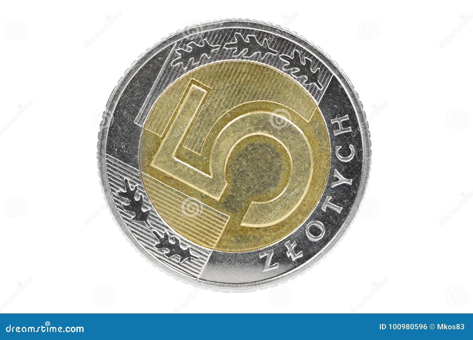 Closeup Of 5 Polish Zloty Coin Stock Photo Image Of Macro Shiny