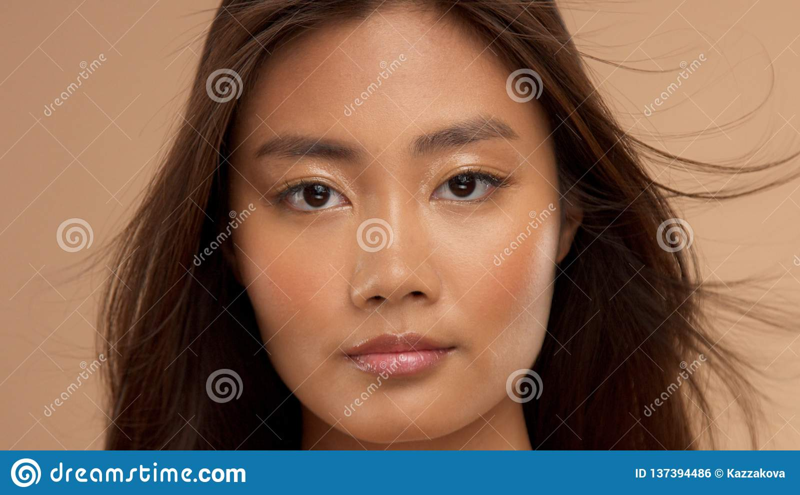 Thai Asian Model With Natural Makeup On Beige Background Stock Photo Image Of Skin Strobing 137394486