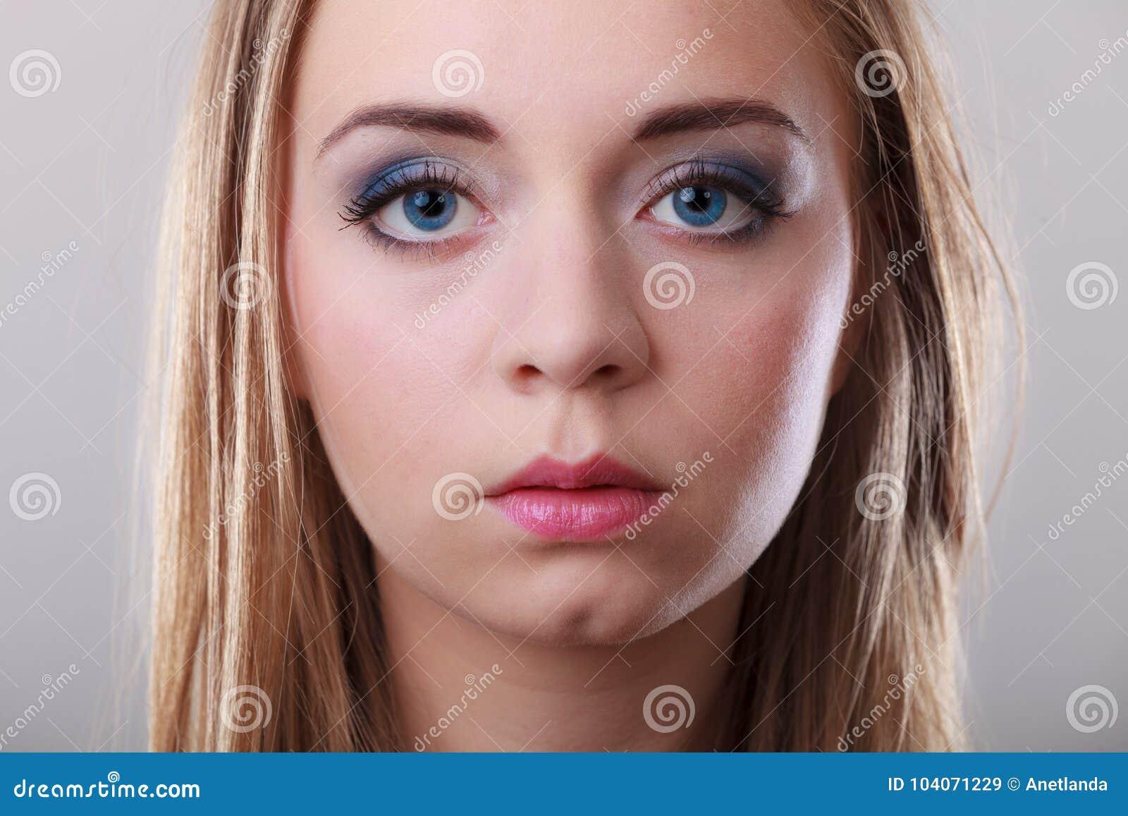 Women Blonde Blue Eyes Long Hair Wavy Hair Portrait: Closeup Portrait Of Blonde Long Hair Girl Stock Image