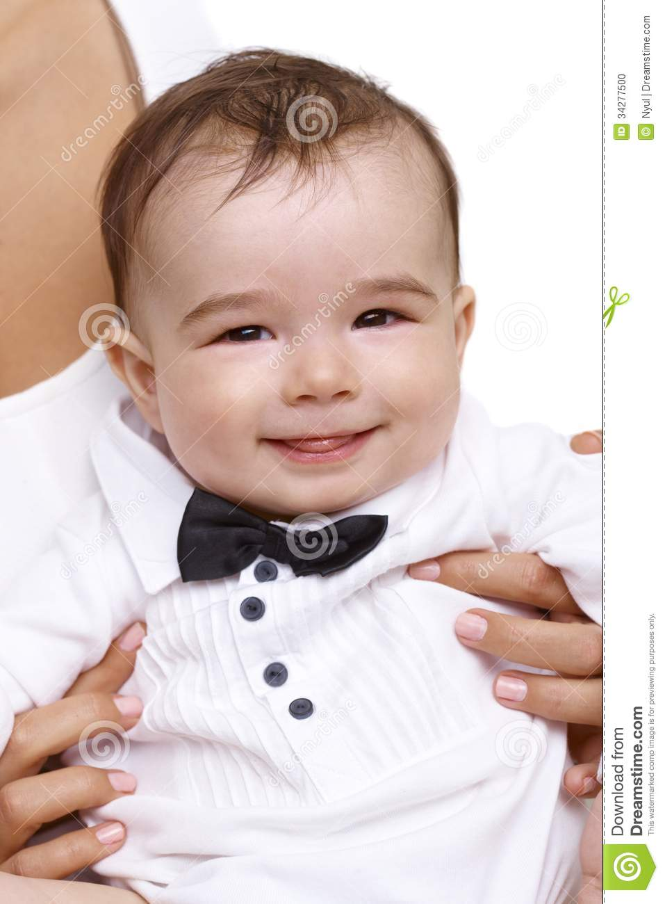 Closeup portrait of baby boy in bow tie stock photo for Baby shirt and bow tie