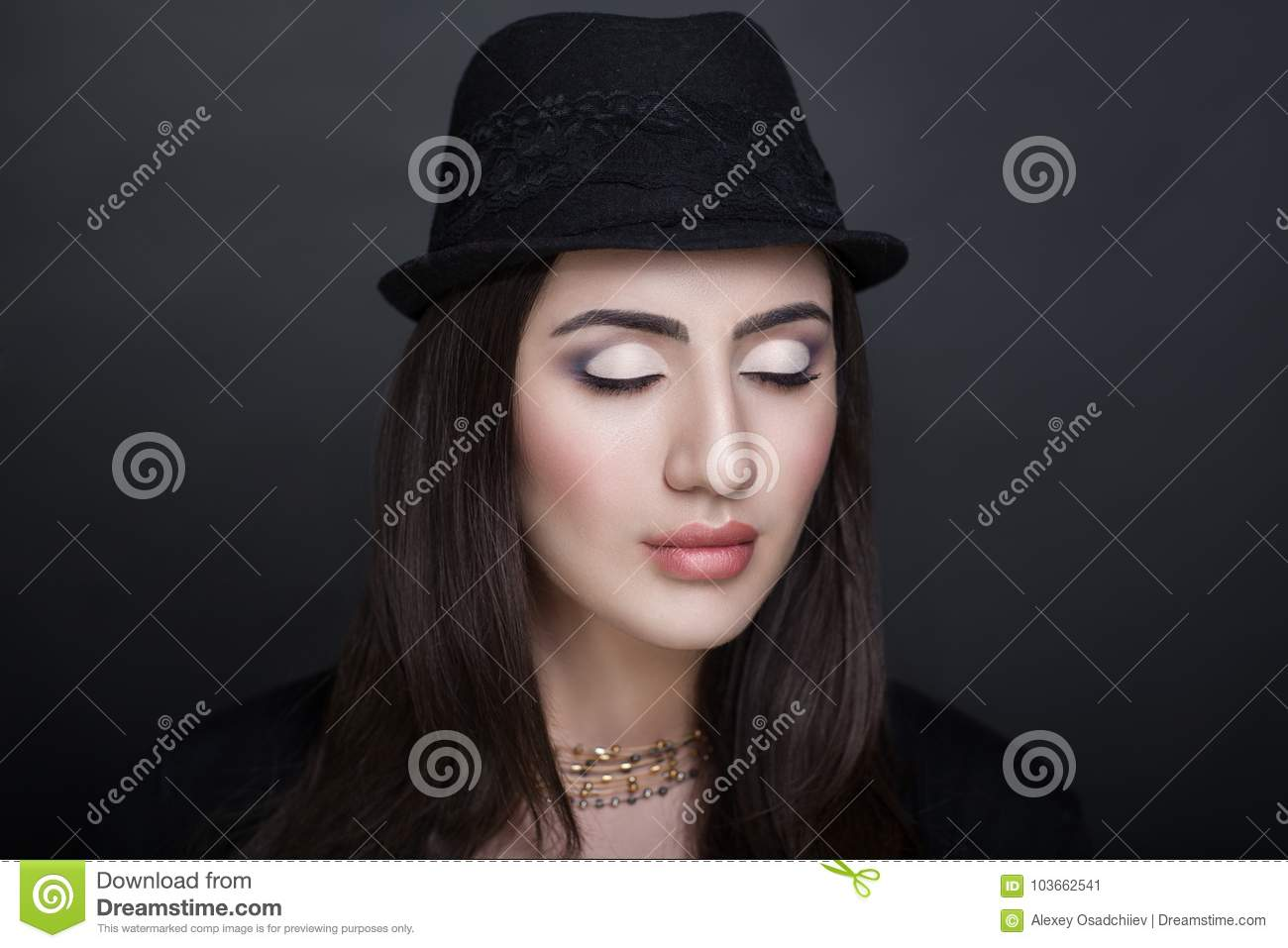 Woman black hat stock image  Image of jewellery, person