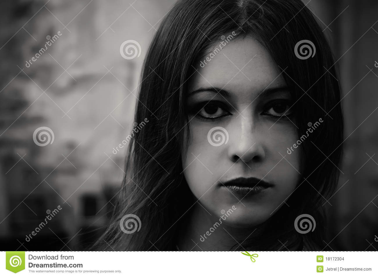 Closeup portrait of a beautiful gothic girl