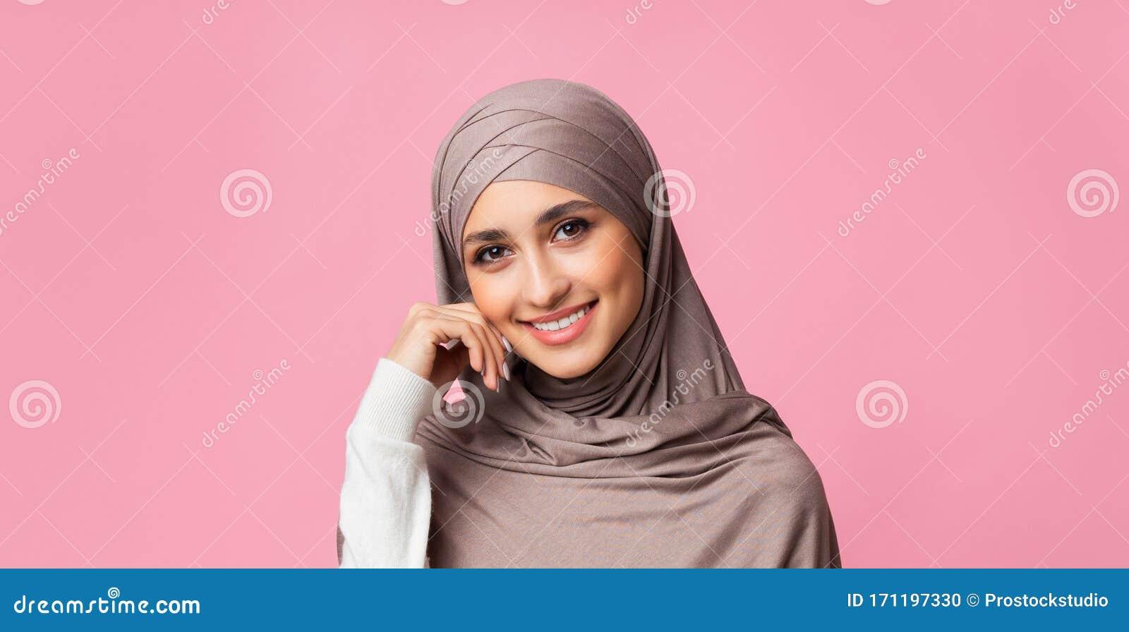Closeup Portrait Of Beautiful Modest Arabic Girl In Hijab Stock