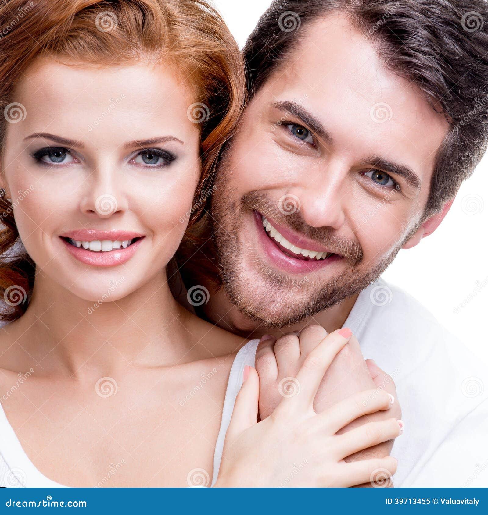 Closeup Portrait Of Beautiful Smiling Couple. Stock Image