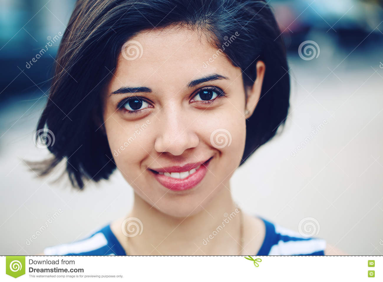 Closeup Portrait Of Beautiful Smiling Young Latin Hispanic Girl
