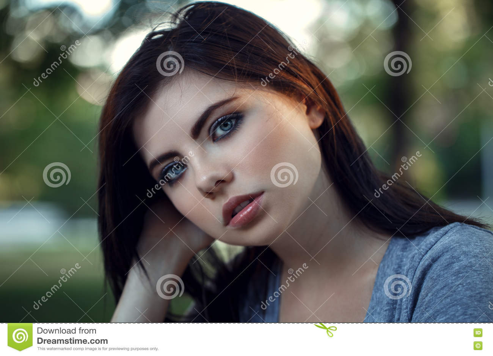 closeup portrait of beautiful young caucasian woman with