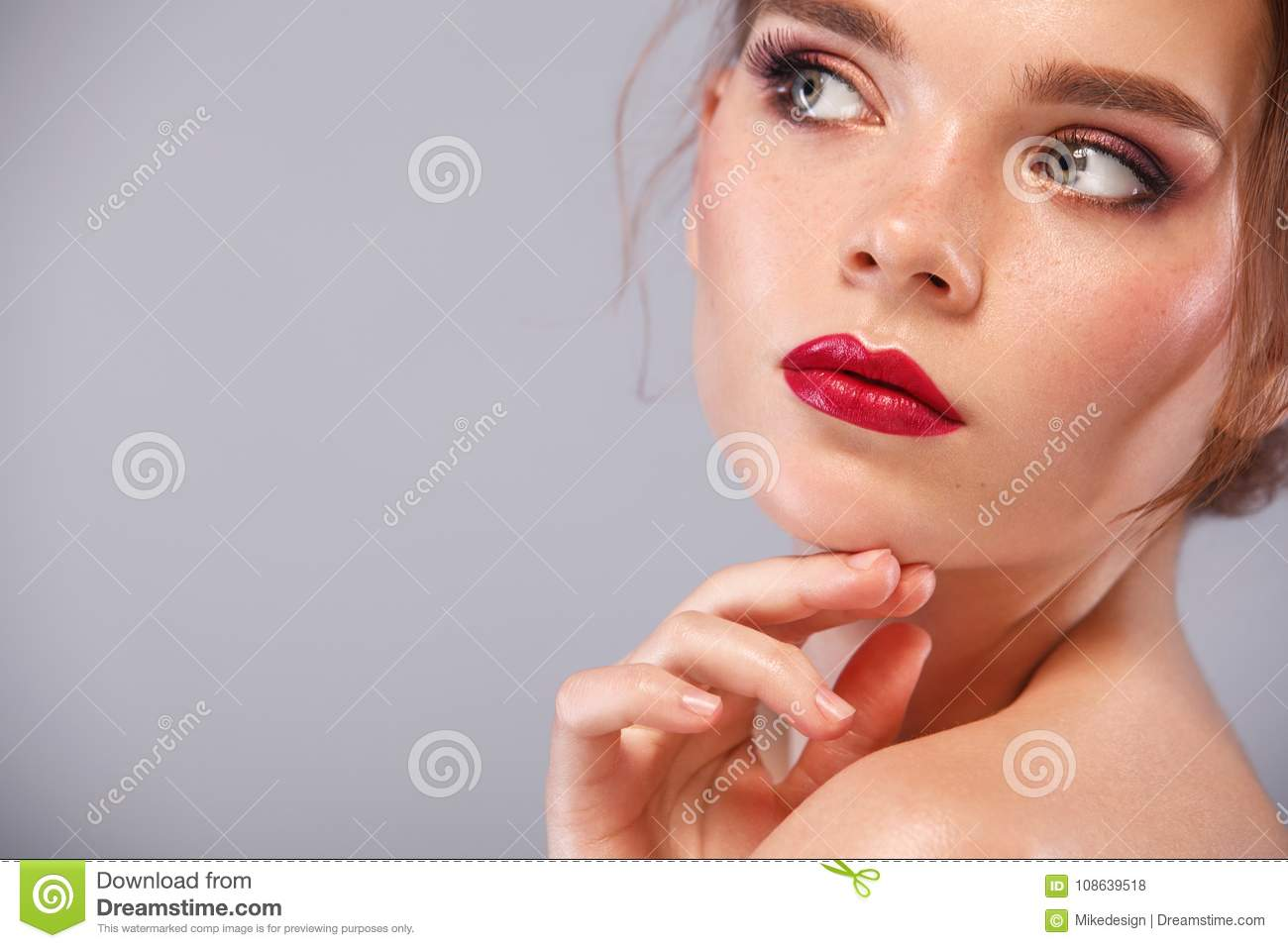Closeup Portrait Of Beautiful Young Woman Model With Clean