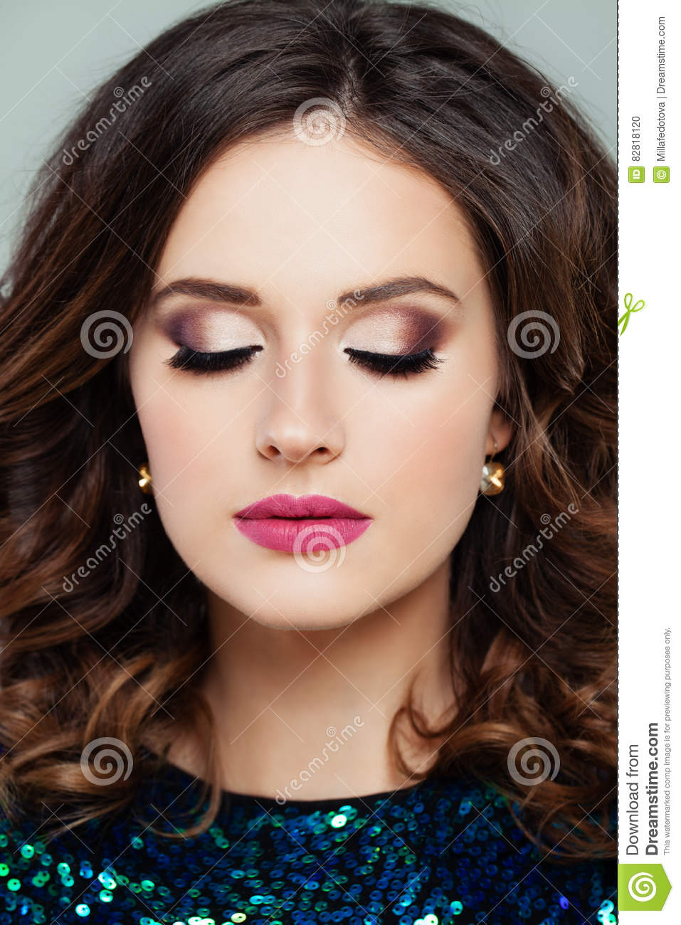 711d7e98f24 Closeup Portrait Of Cute Woman With Professional Makeup Stock Photo ...