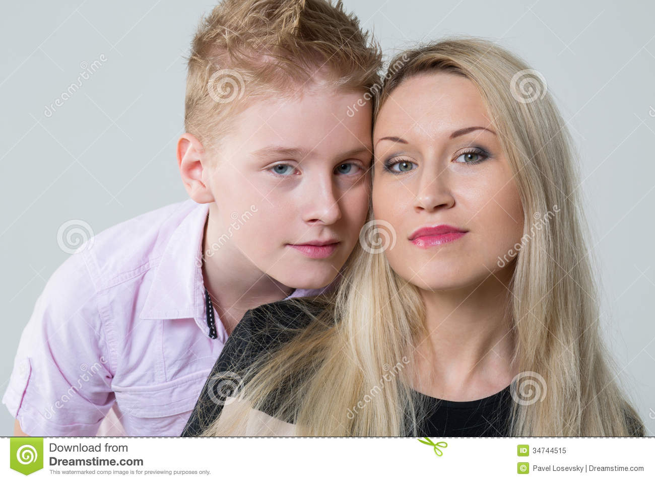 Closeup portrait of a mother and son