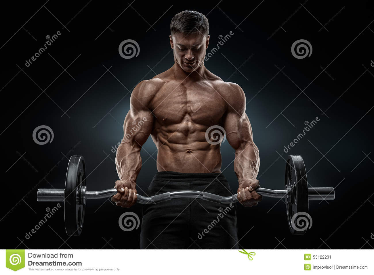 Download Closeup Portrait Of A Muscular Man Workout With Barbell At Gym Stock Image - Image of fitness, champion: 55122231