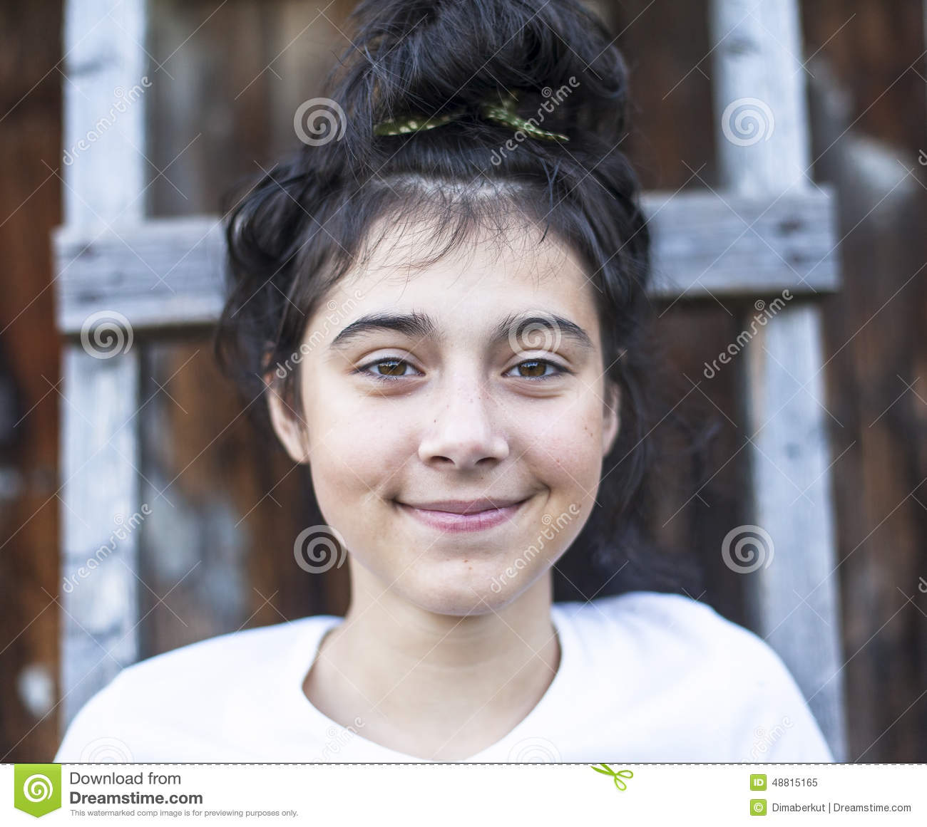 Closeup Portrait Of A Positive Teen Girl With Black Hair ...