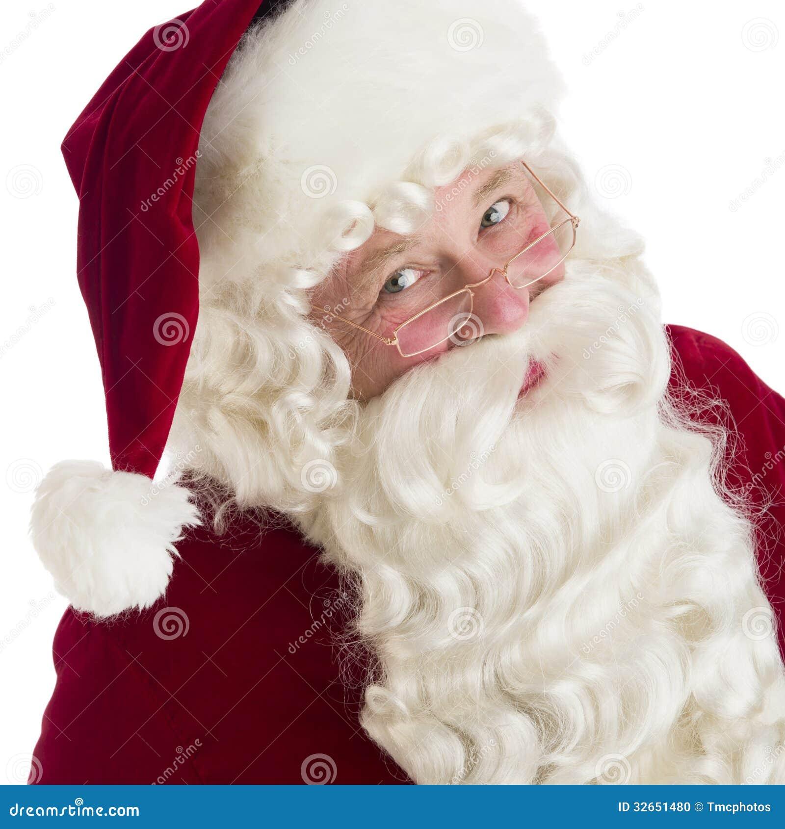 closeup portrait of santa claus - White Santa Claus