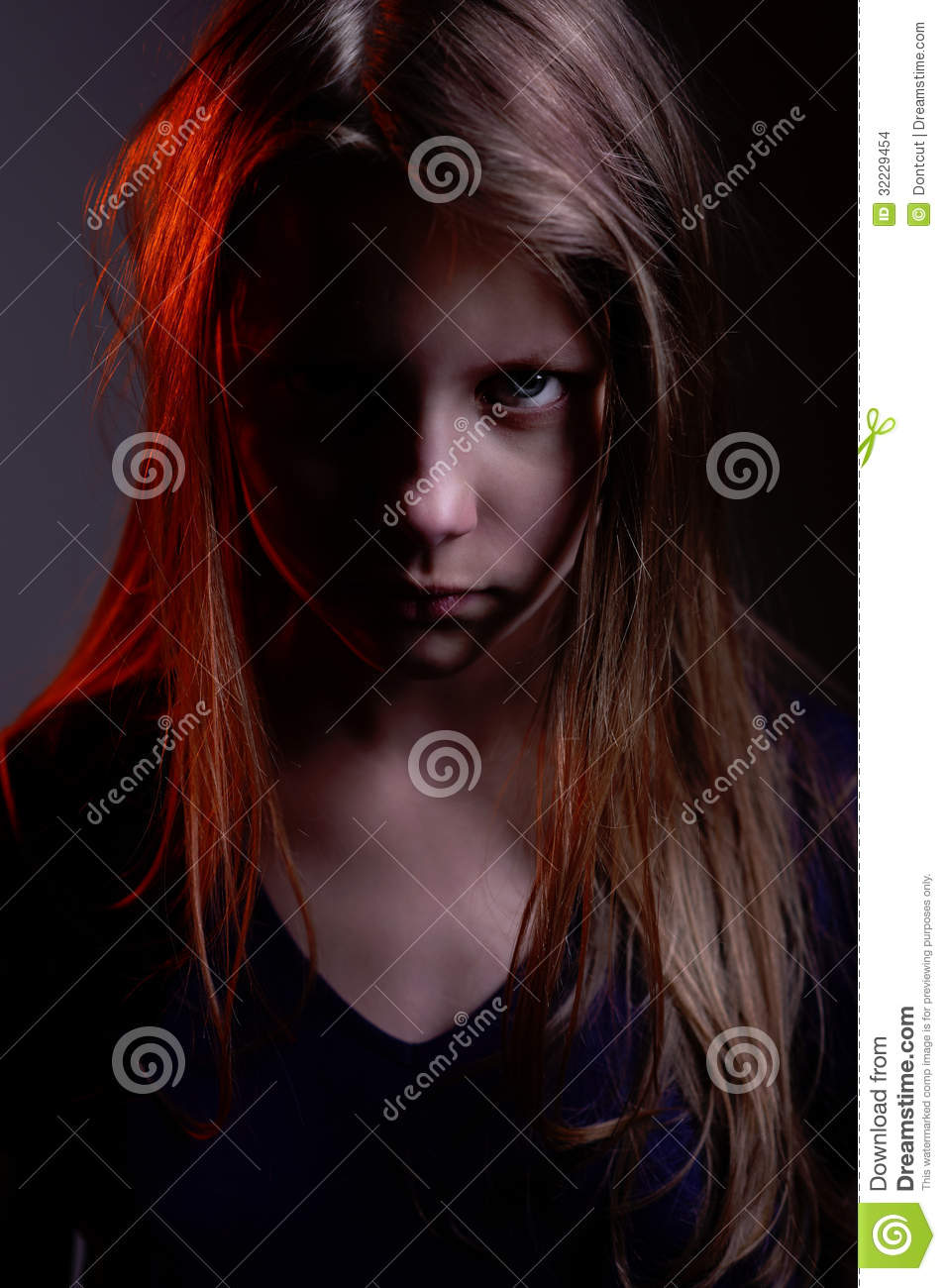 Closeup Portrait Of A Scary Little Demon Girl Stock Images - Image ...