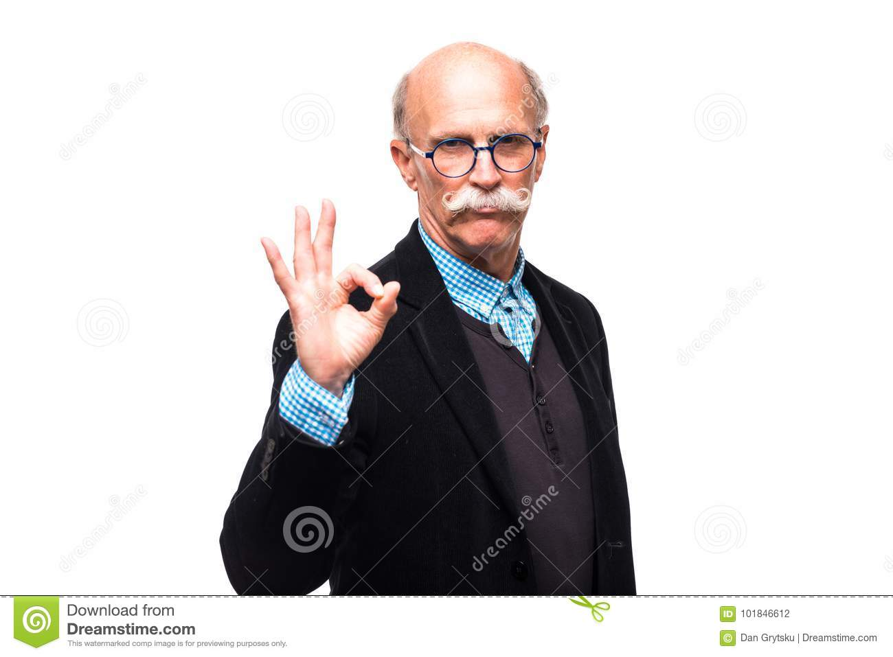 Closeup portrait of senior, mature, happy, smiling excited business man  giving thumbs up