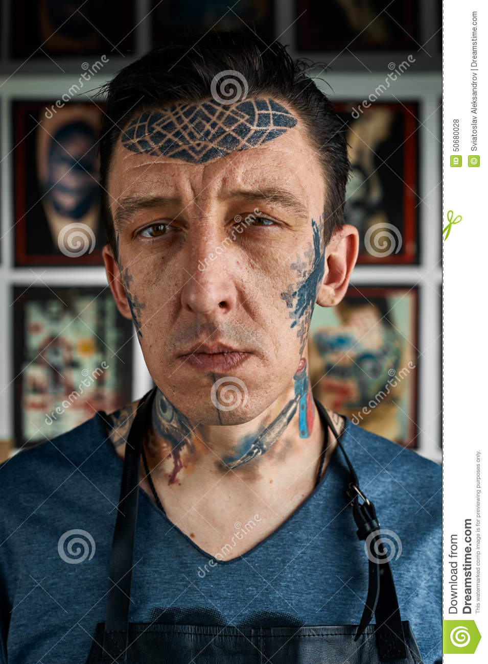 Closeup Portrait Of Tattoo Artist In Studio Stock Photo Image Of