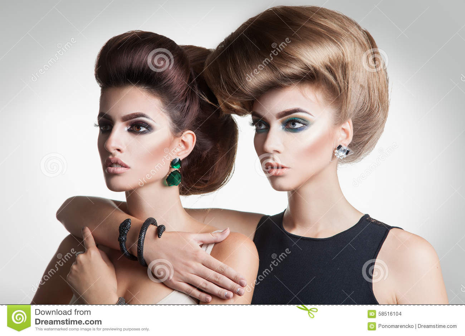 Closeup Portrait Of Two Beauty Fashion Women With Creative