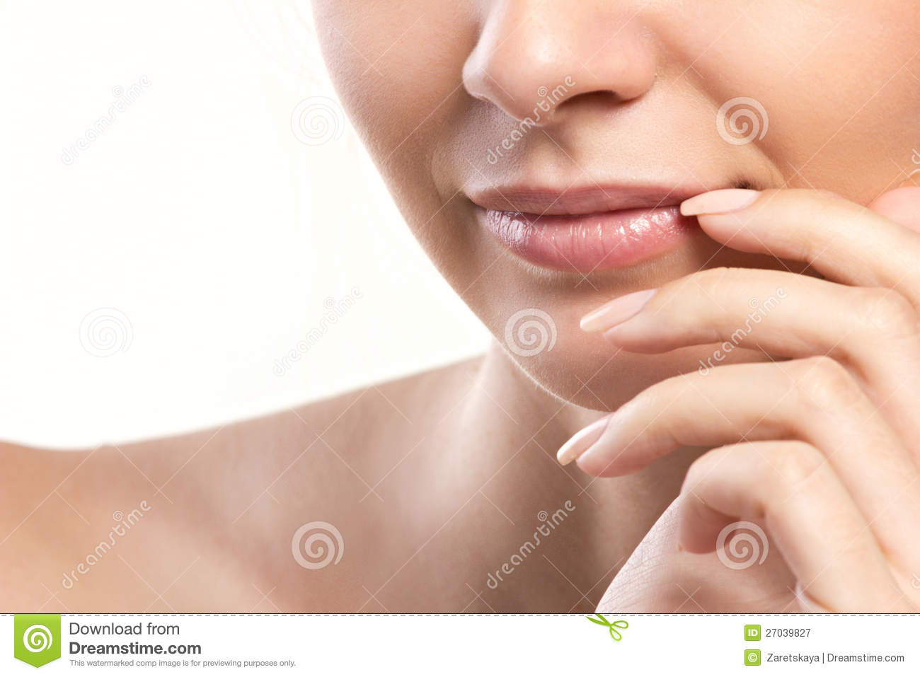 Closeup portrait of woman s lips and hand