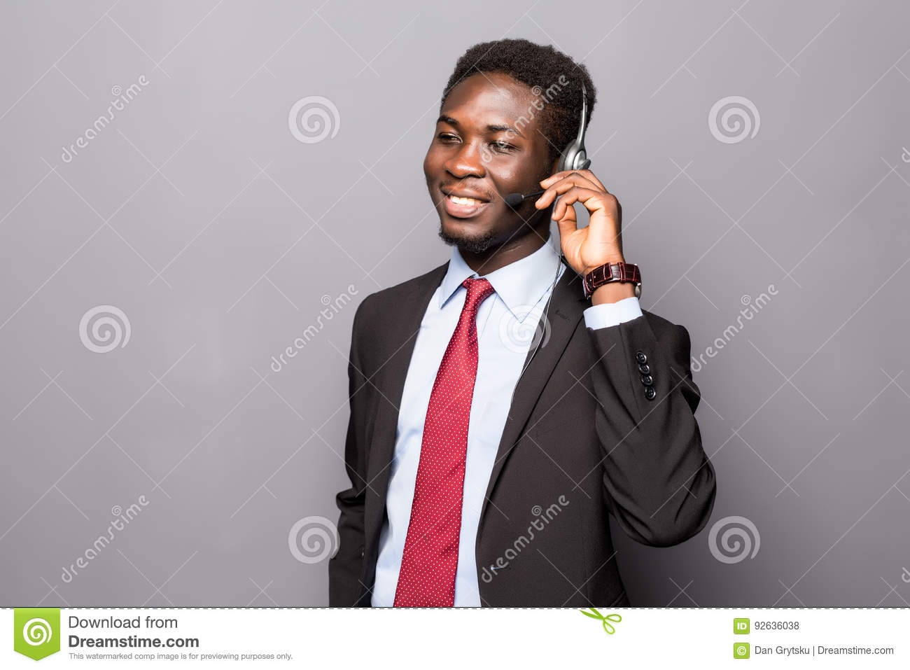 Closeup portrait of a young male customer service representative or call centre worker or operator, support staff speaking with he